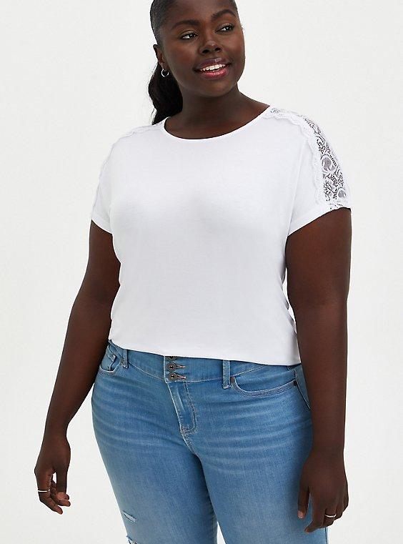 Lace Dolman Top - Super Soft White, BRIGHT WHITE, hi-res
