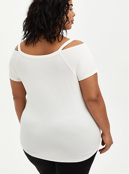 Cold Shoulder Tee - Super Soft Good Times White, BRIGHT WHITE, alternate