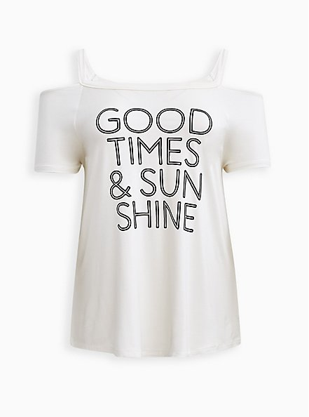 Cold Shoulder Tee - Super Soft Good Times White, BRIGHT WHITE, hi-res