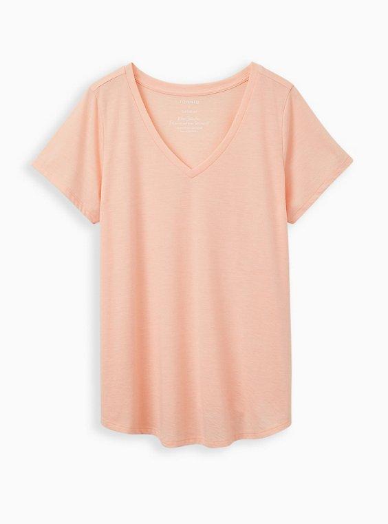 Plus Size Girlfriend Tee - Signature Jersey Peach, PEACH NECTAR, hi-res