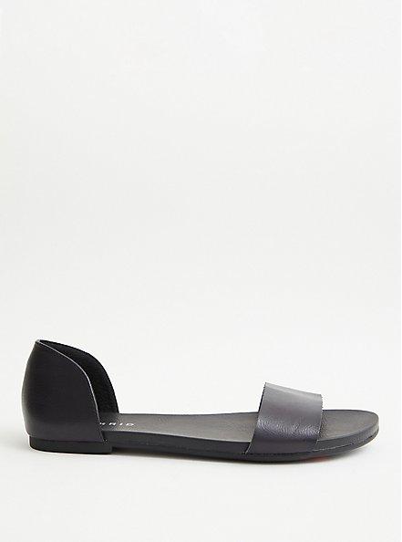 Black Faux Leather Dorsay Flat (WW), BLACK, alternate
