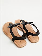 Black Rhinestone Bow T-Strap Sandal (WW), BLACK, alternate