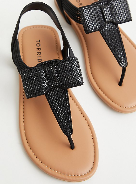Black Rhinestone Bow T-Strap Sandal (WW), BLACK, hi-res