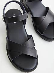 Black Faux Leather Lug Heel, BLACK, alternate