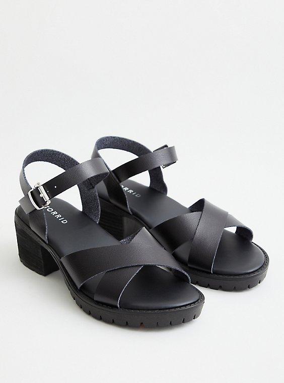 Black Faux Leather Lug Heel, BLACK, hi-res