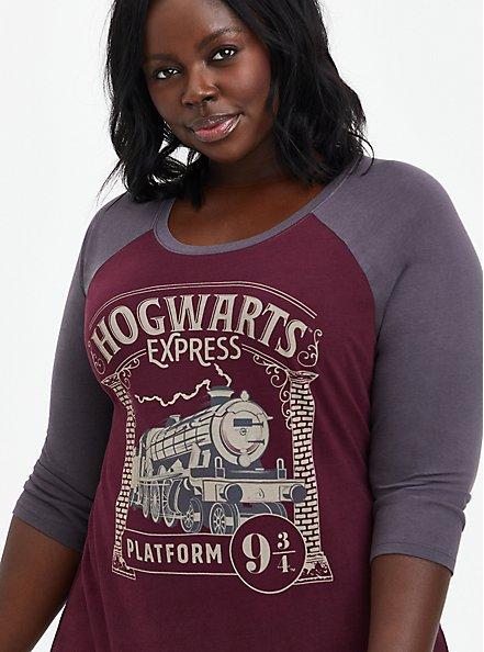 Harry Potter Hogwarts Express Train Raglan, BURGUNDY, hi-res