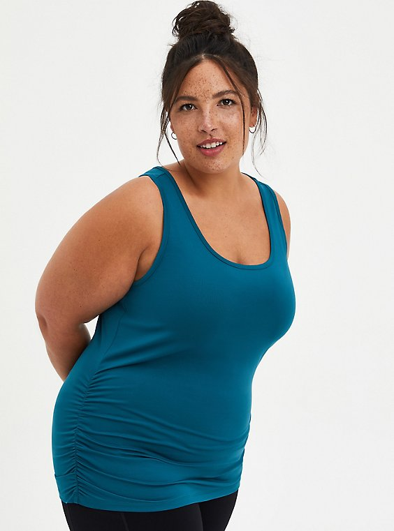 Teal Fitted Side Ruched Wicking Active Tank, , hi-res