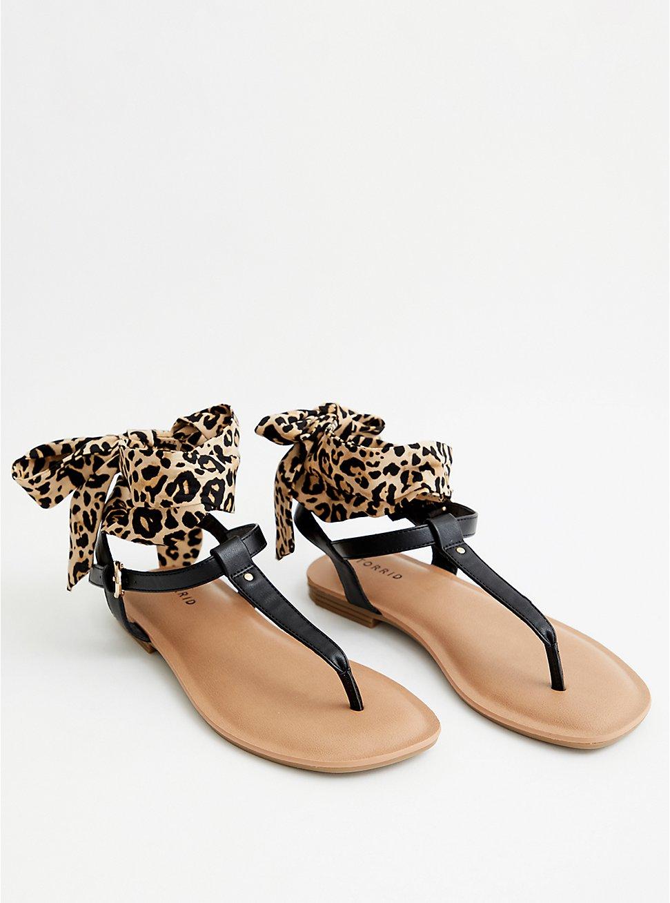 Black Faux Leather Sandal With Ankle Wrap, BLACK, hi-res