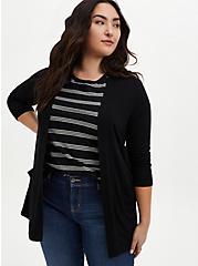 Super Soft Black Open Front Cardigan, DEEP BLACK, alternate