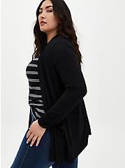 Super Soft Black Open Front Cardigan, DEEP BLACK, hi-res