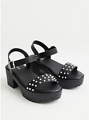 Black Faux Leather Studded Chunky Heel (WW), BLACK, hi-res