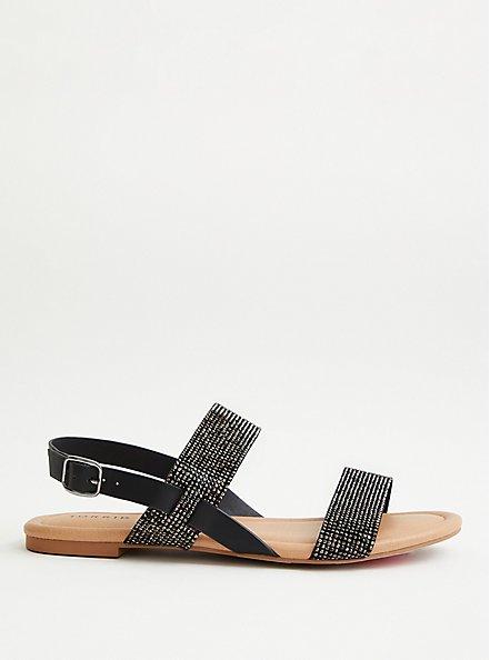 Black Embellished Double Strap Sandal, BLACK, alternate