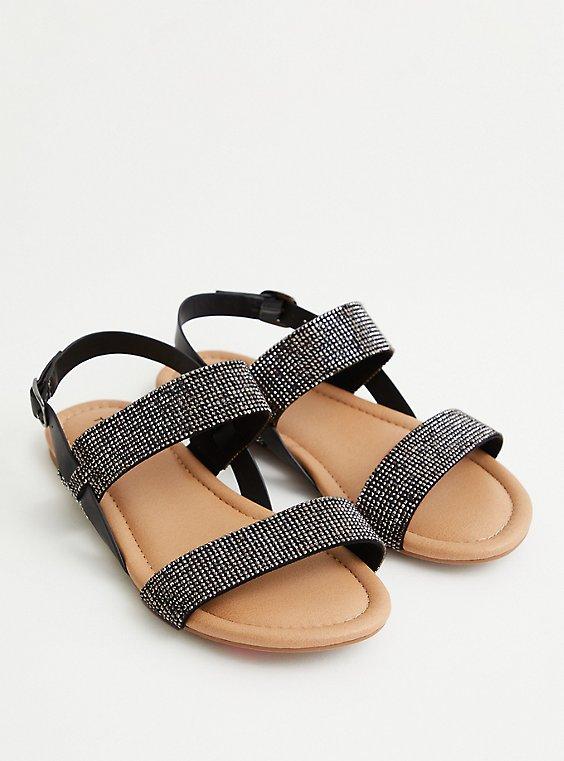 Black Embellished Double Strap Sandal, BLACK, hi-res