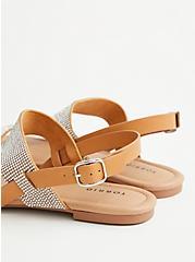 Cognac Embellished Double Strap Sandal, COGNAC, alternate