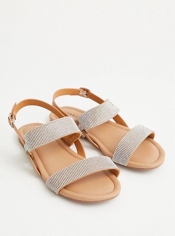 Cognac Embellished Double Strap Sandal, COGNAC, hi-res