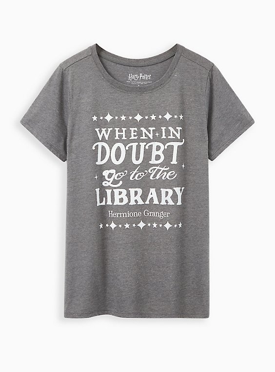 Slim Fit Crew Tee - Go To The Library Grey, , hi-res