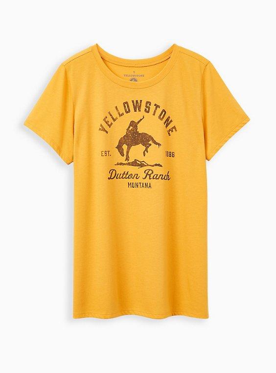 Plus Size Slim Fit Crew Tee – Dutton Ranch Yellow, , hi-res