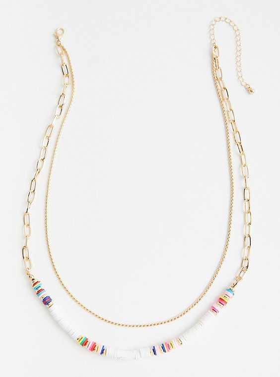 White Beaded Layer Necklace - Gold Tone, , hi-res