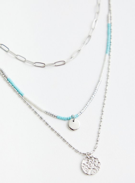 Link Turquoise Beaded Layer Necklace - Silver Tone, , hi-res
