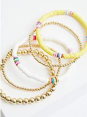 Yellow & White Beaded Stretch Bracelet Set, MULTI, alternate