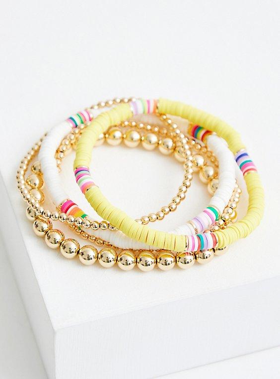 Yellow & White Beaded Stretch Bracelet Set, , hi-res