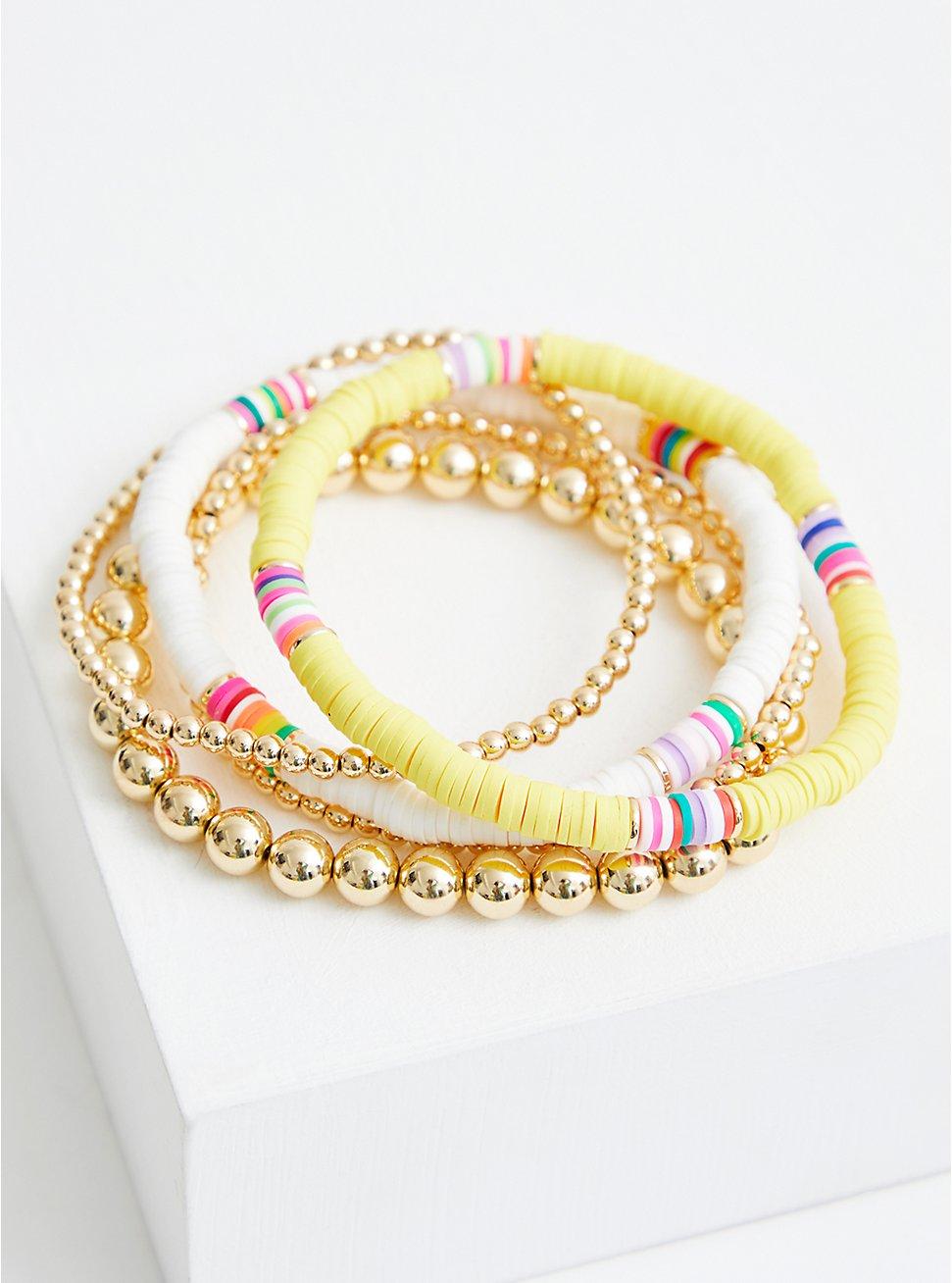 Yellow & White Beaded Stretch Bracelet Set, MULTI, hi-res