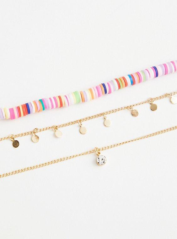 Multicolor Beaded Anklet Set - Gold Tone , , hi-res