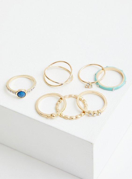 Gold Tone Turquoise Enamel Ring Set of 7, , hi-res
