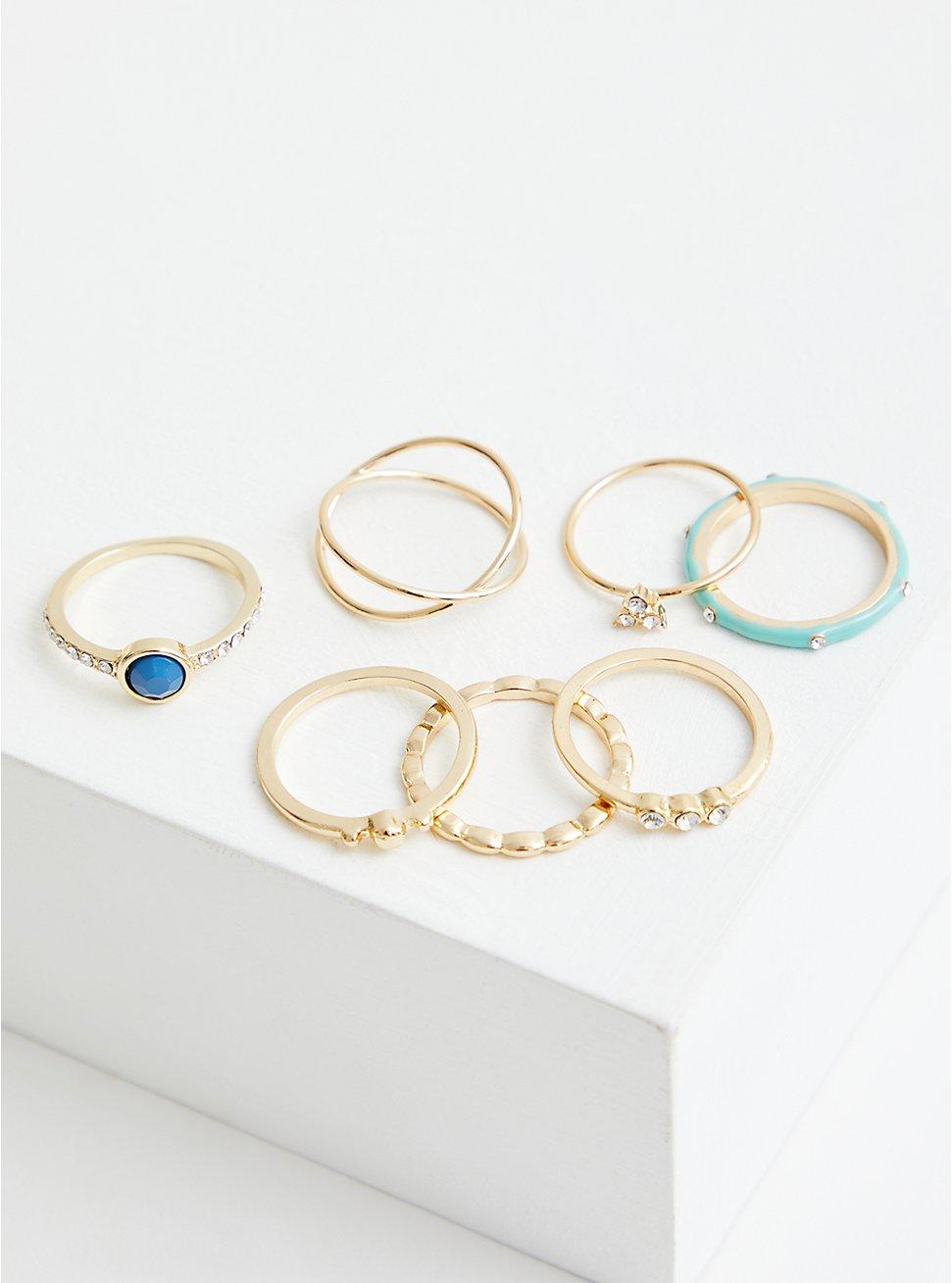 Gold Tone Turquoise Enamel Ring Set of 7, MULTI, hi-res