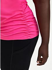 Pink Fitted Ruched Wicking Active Tank, PINK GLO, alternate