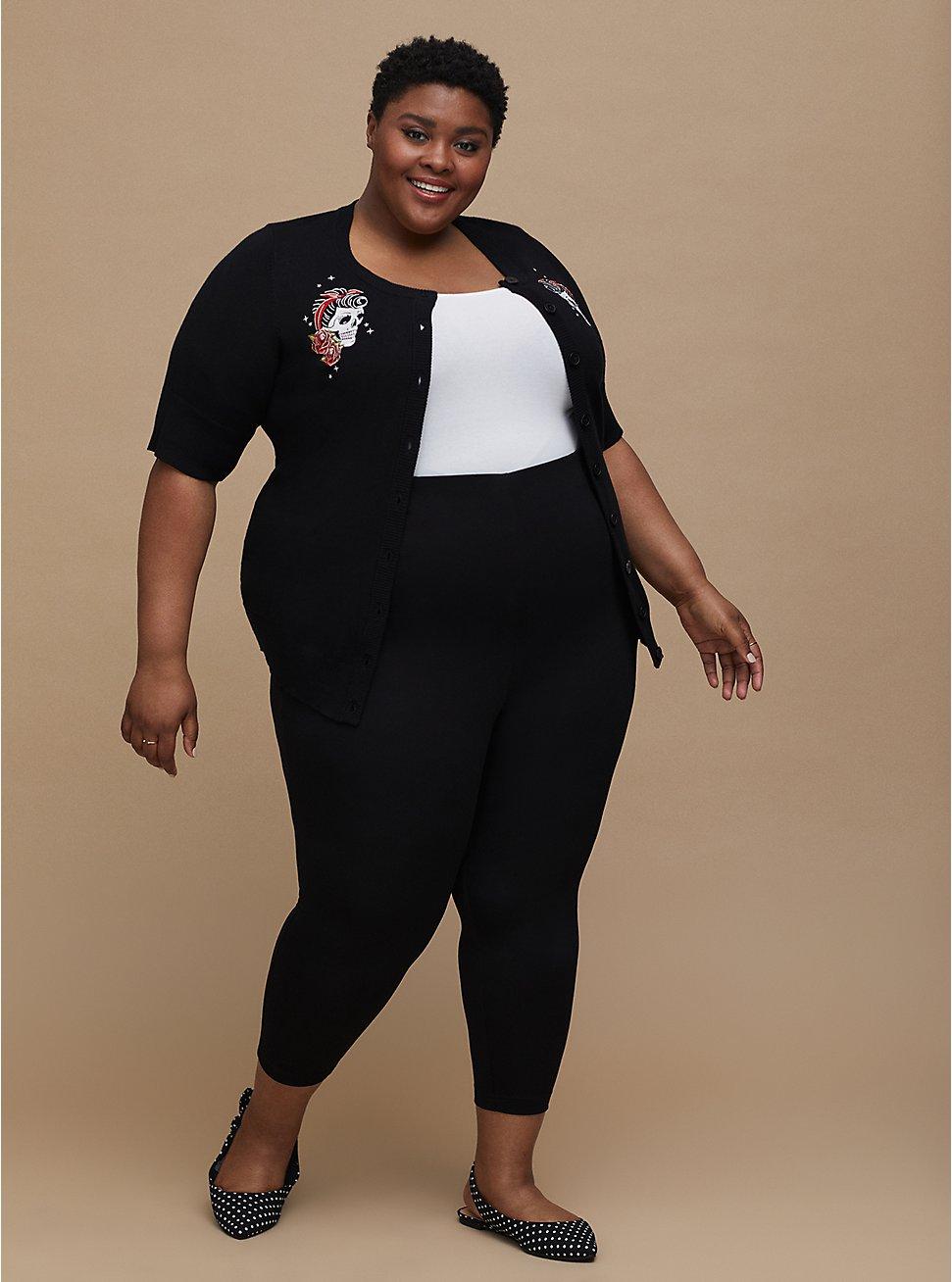 Retro Chic Audrey Pull-On Pant - Ponte Black, DEEP BLACK, hi-res