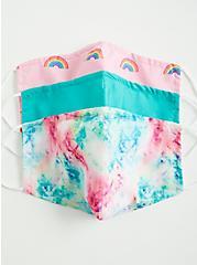 Rainbow Tie-Dye Non-Medical Reusable Face Masks - Set of 3, , alternate
