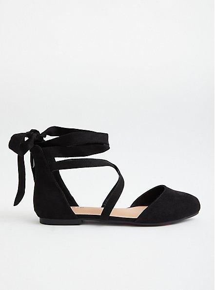 Black Faux Suede Ankle Wrap Flat, BLACK, alternate