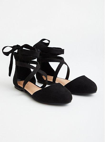 Black Faux Suede Ankle Wrap Flat, BLACK, hi-res