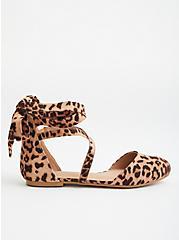 Leopard Faux Suede Ankle Wrap Flat, LEOPARD, alternate