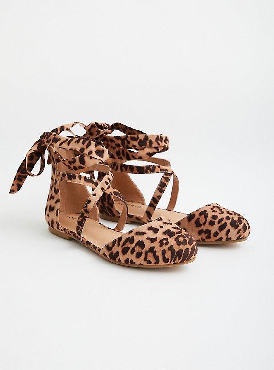 Leopard Faux Suede Ankle Wrap Flat, LEOPARD, hi-res