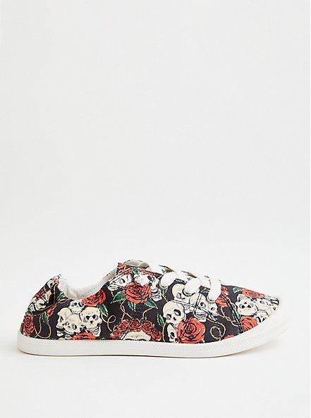 Riley - Skull Print Canvas Sneaker , SKULL, alternate