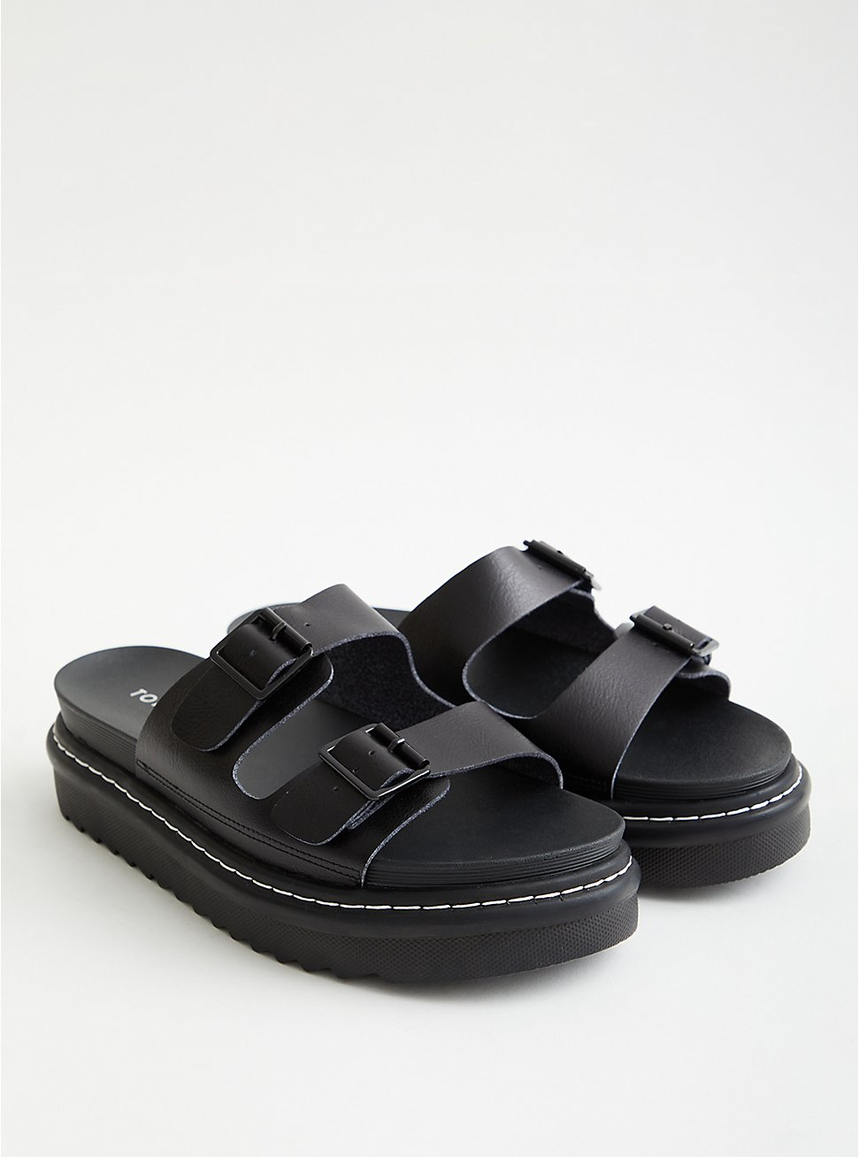 Double Buckle Flatform Sandal - Faux Leather Black (WW), BLACK, hi-res