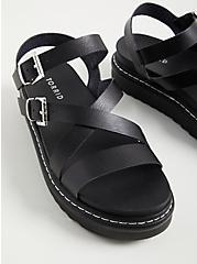 Gladiator Flatform Sandal - Faux Leather Black(WW), BLACK, alternate