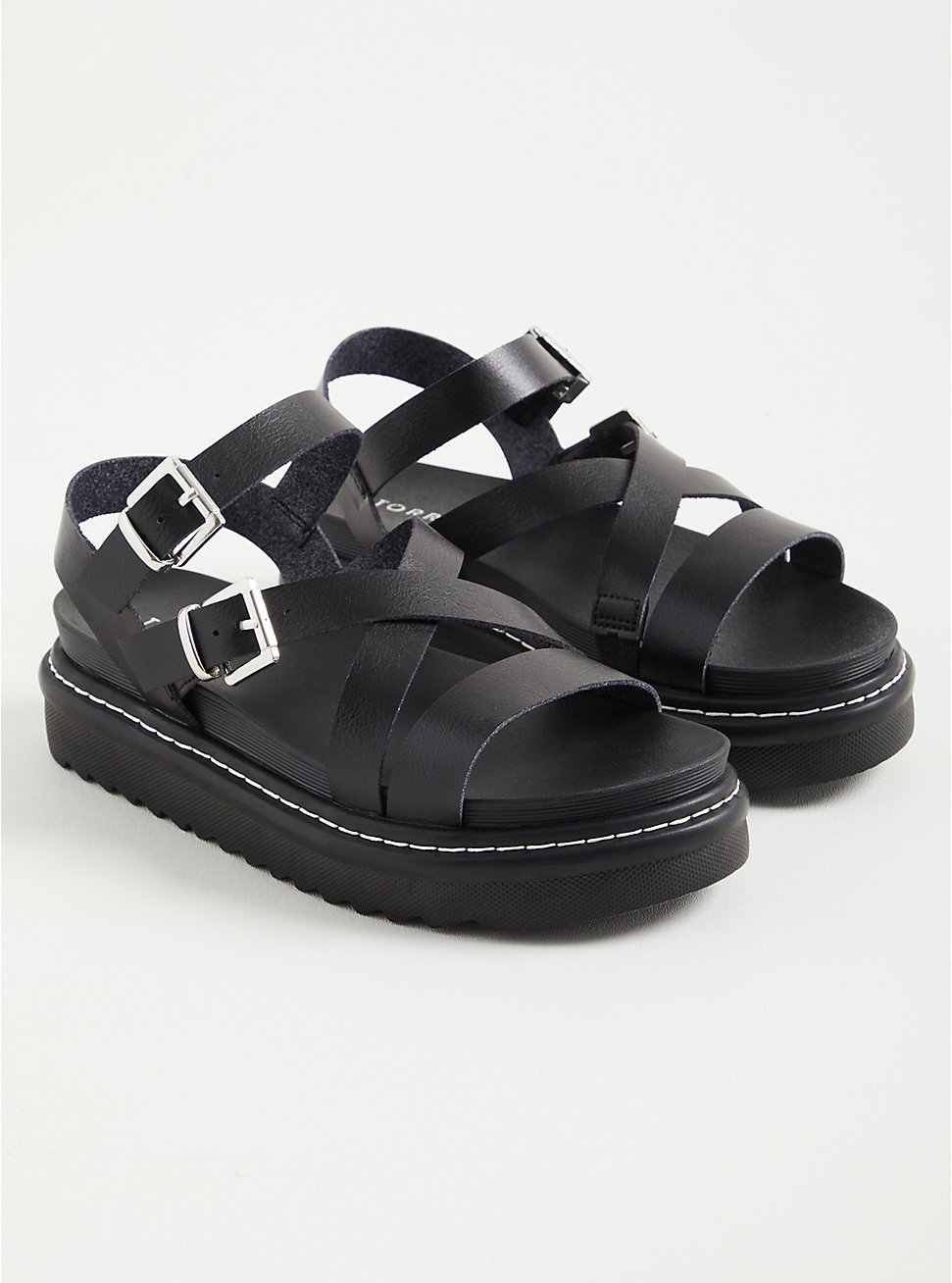 Gladiator Flatform Sandal - Faux Leather Black(WW), BLACK, hi-res