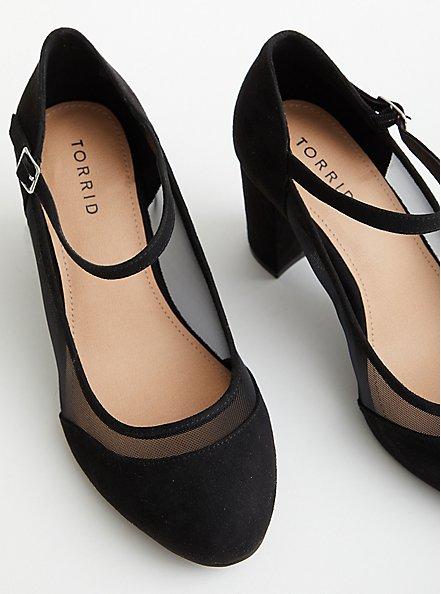 Black Faux Suede Mary Jane Mesh Heel (WW), BLACK, alternate