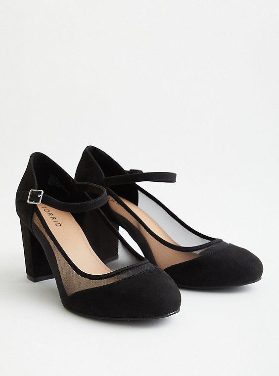 Black Faux Suede Mary Jane Mesh Heel (WW), , hi-res