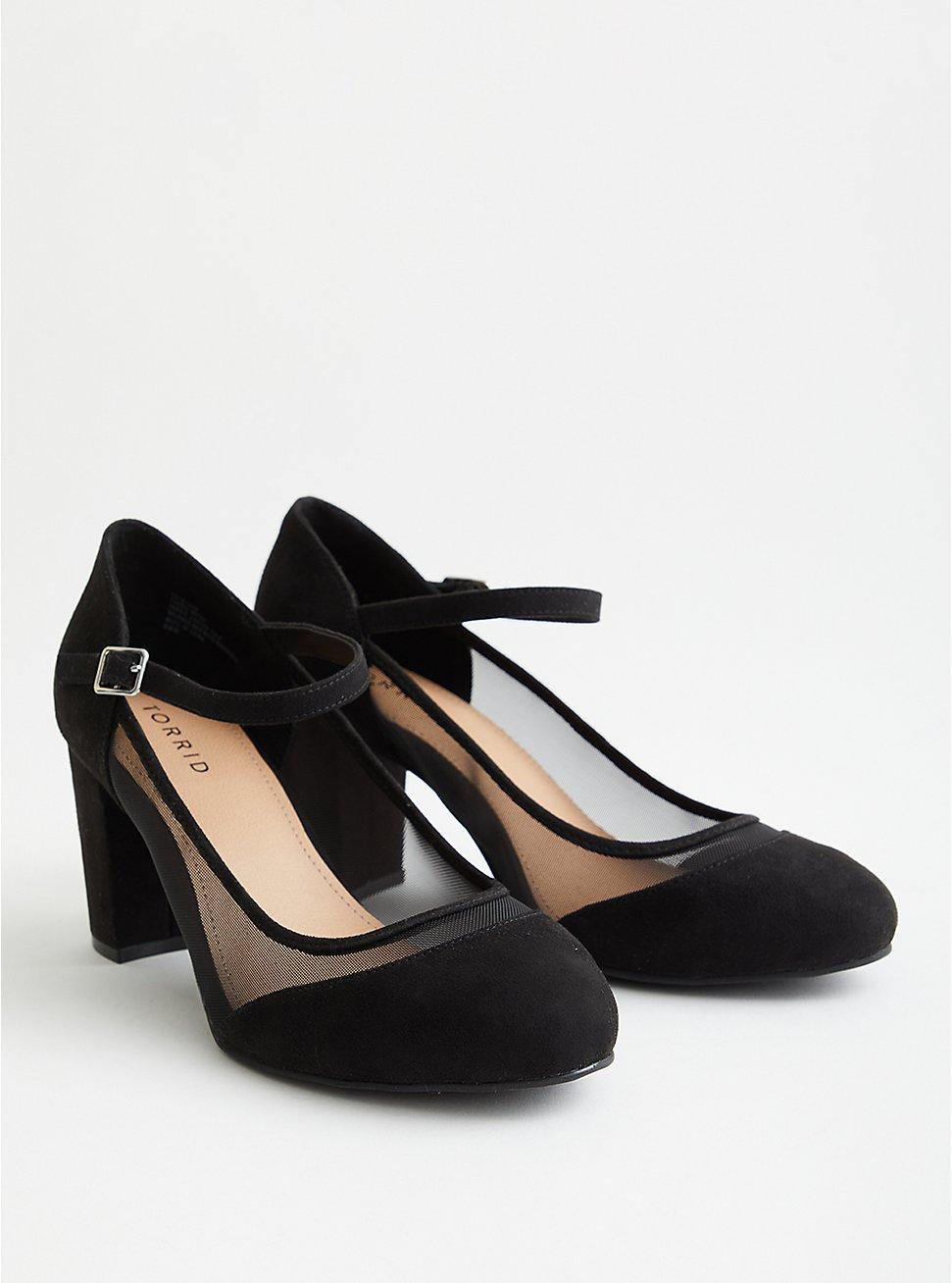 Black Faux Suede Mary Jane Mesh Heel (WW), BLACK, hi-res