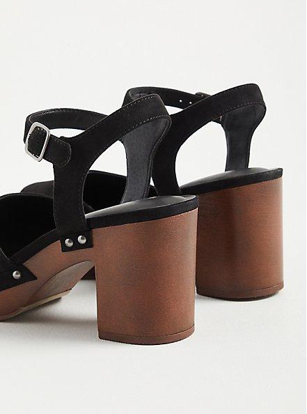 Clog Heel - Faux Suede Black (WW), BLACK, alternate