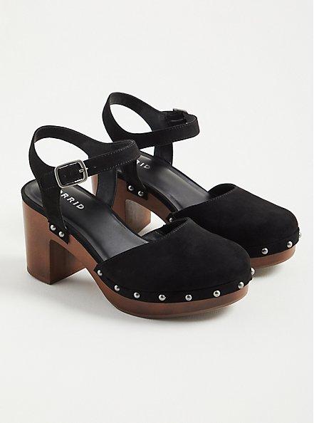 Clog Heel - Faux Suede Black (WW), BLACK, hi-res