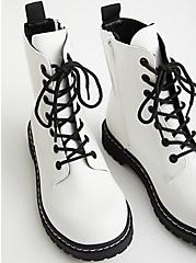 Stevie - White Faux Leather Chunky Combat Boot, , alternate