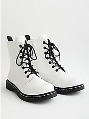 Stevie - White Faux Leather Chunky Combat Boot, , hi-res