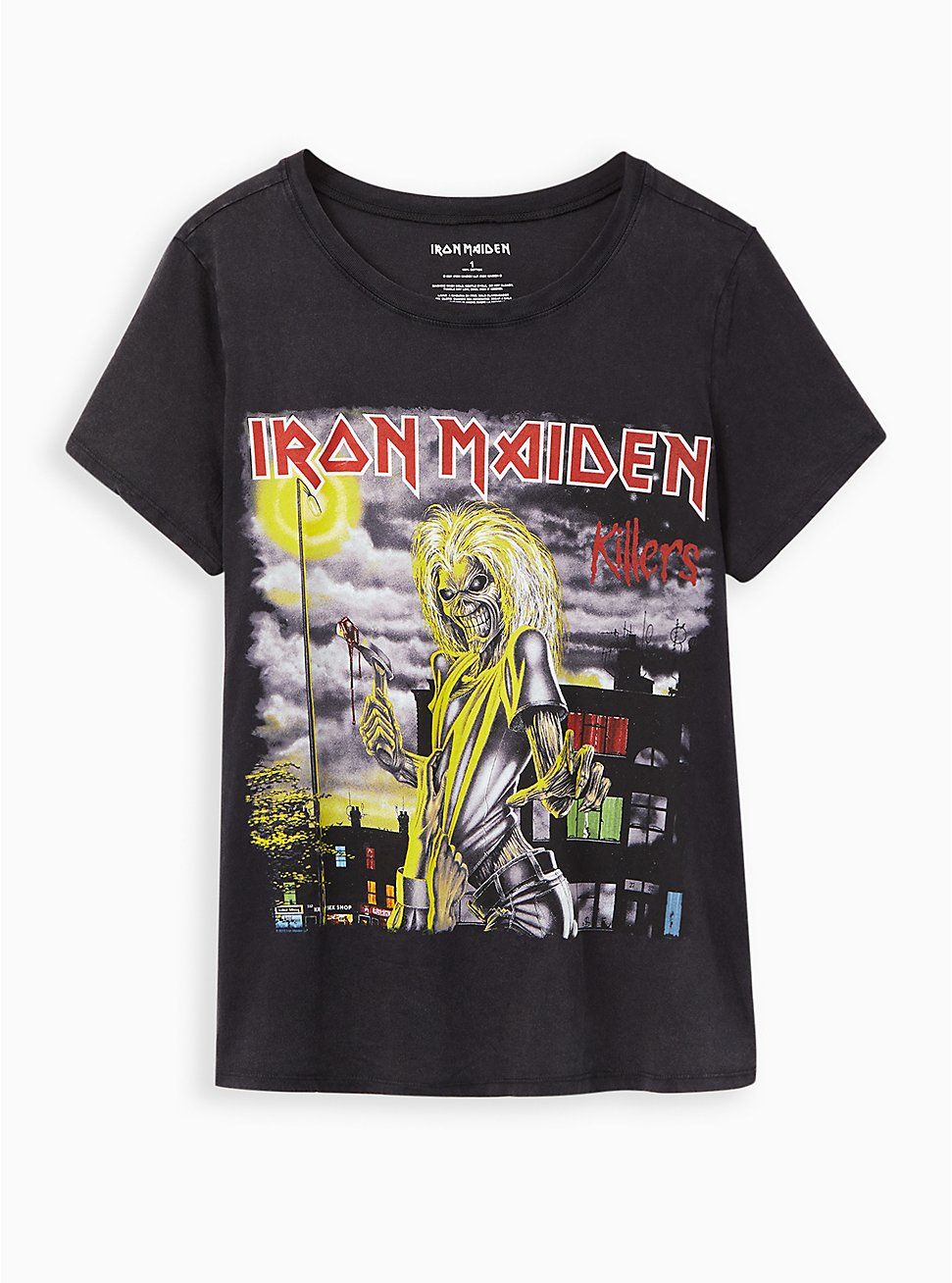 Classic Fit Crew Tee – Iron Maiden Mineral Wash Black, DEEP BLACK, hi-res
