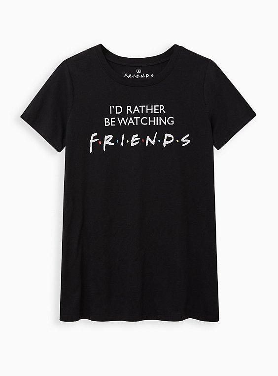 Plus Size Classic Fit Crew Tee – Watching Friends Black, DEEP BLACK, hi-res