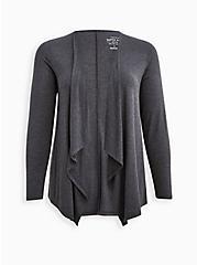 Super Soft Charcoal Grey Drape Cardigan Sweater, CHARCOAL  GREY, hi-res